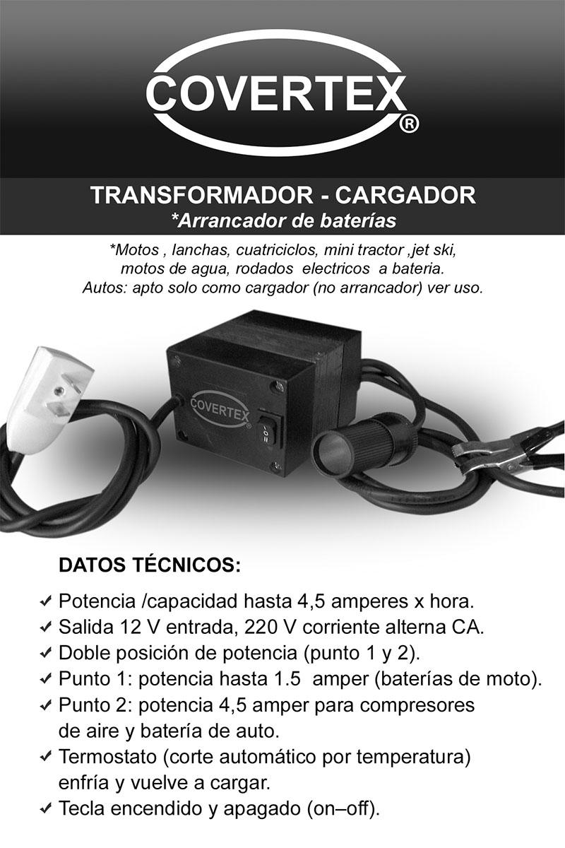 Cargador - arrancador de baterias 10x15 cm frente