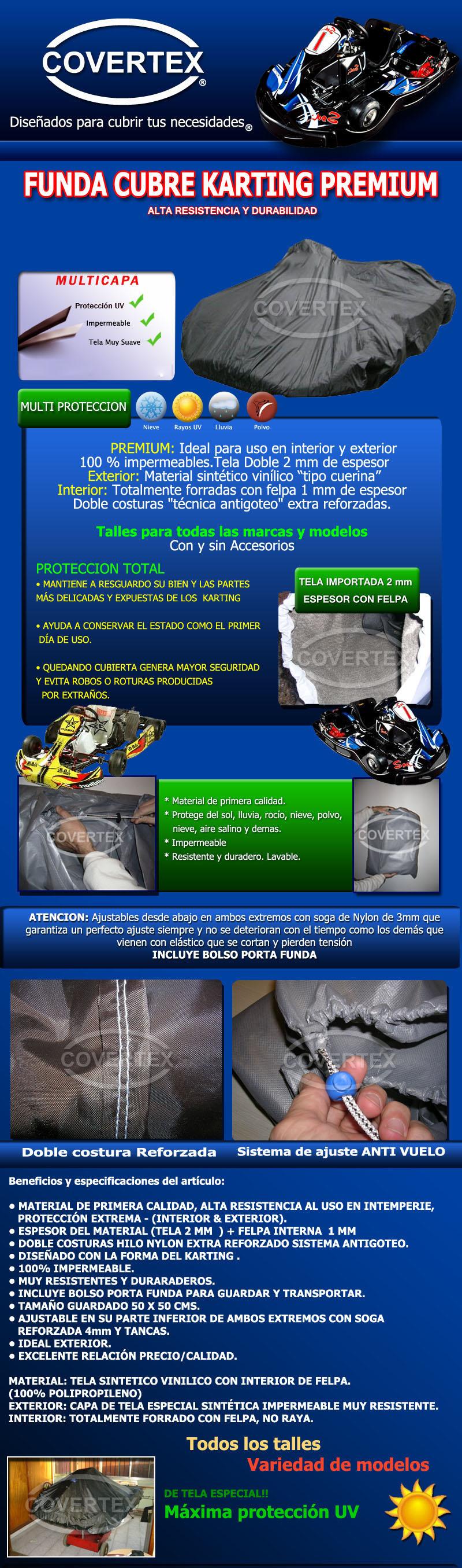 Funda Cubre Karting Cobertor Premium Tela Importada+felpa 2m